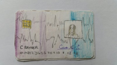 Lottie's smartcard: with a remarkably lifelike picture.  The other side had a ice pic of a ....CD