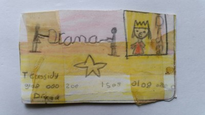 Tess' smartcard: themed around drama with a pic of a king